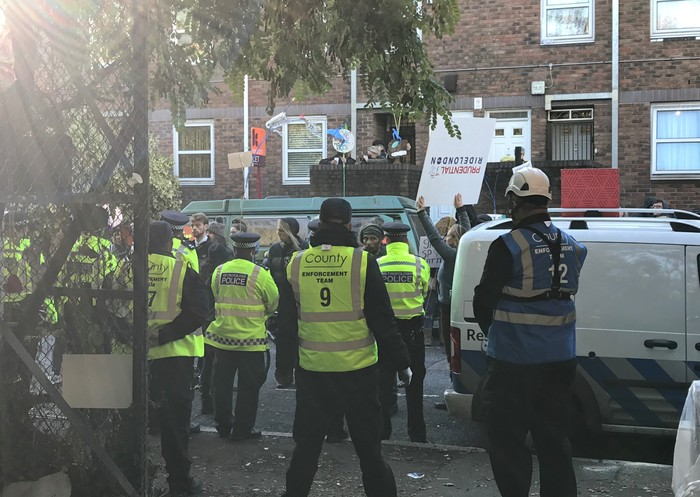 Protester Eviction Tower Hamlets